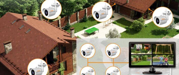 Беспроводное WiFi видеонаблюдение на участке на даче 4 камеры и регистратор